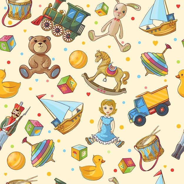 Kids toys pattern Free Vector