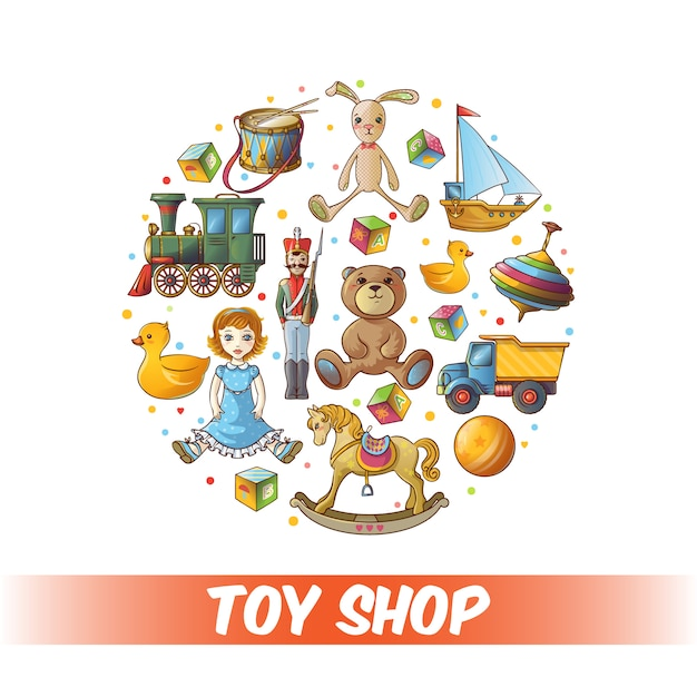 Kids toys round composition Free Vector