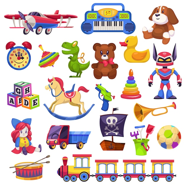 Kids toys set. toy kid child preschool house baby game ball train yacht horse doll duck boat plane bear car pyramid Premium Vector