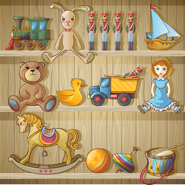 Kids toys on shelves composition Free Vector