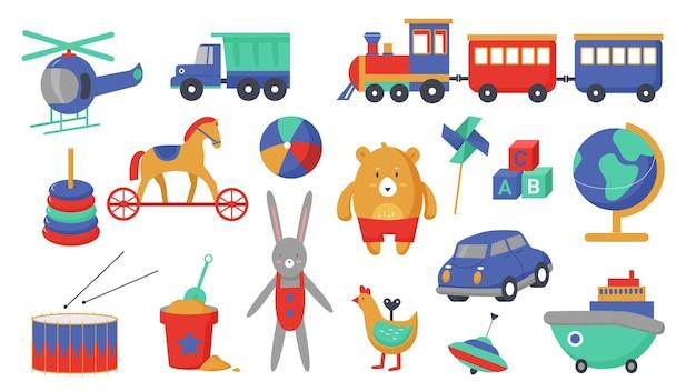 Детские игрушки векторные иллюстрации набор. мультяшная деятельность для детей, коллекция обучающих игр с симпатичным пластиковым игрушечным транспортом для маленьких мальчиков и девочек Premium векторы