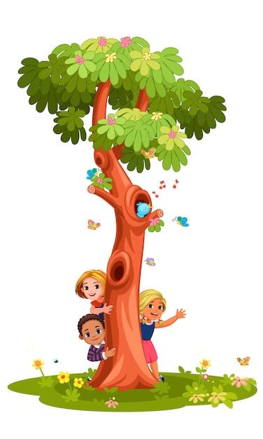 Kids behind the tree Premium Vector