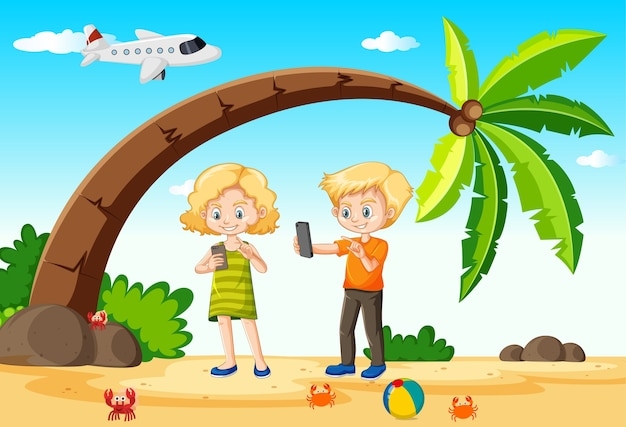 Kids using smart phone during travelling with beach and plane Free Vector