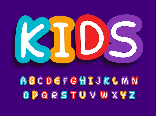 Kids vector letters set. funny creative bright alphabet. Premium Vector
