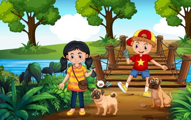 Kids walking dogs and picking up poop Premium Vector
