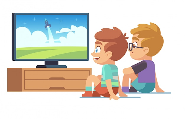 子供たちはテレビを見ます。子供の映画家の男の子の女の子は、テレビの画像画面のキャラクターの電気モニターの漫画の概念を表示する時計を見る Premiumベクター