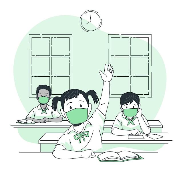 学校の概念図でマスクを着ている子供たち 無料ベクター