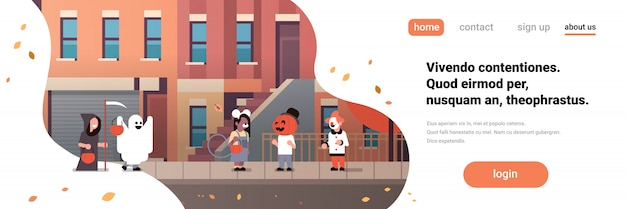Kids wearing monsters ghost pumpkin wizard clown costumes walking town banner Premium Vector