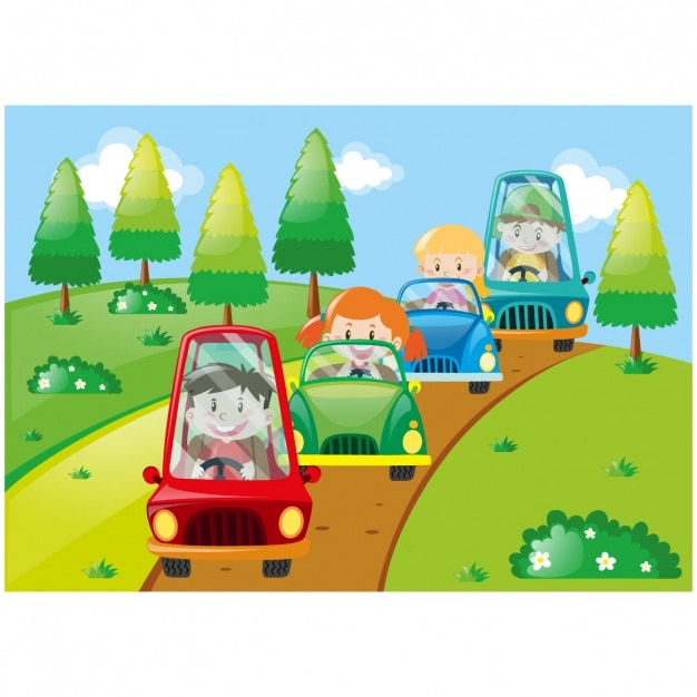 kids with cars background design free vector