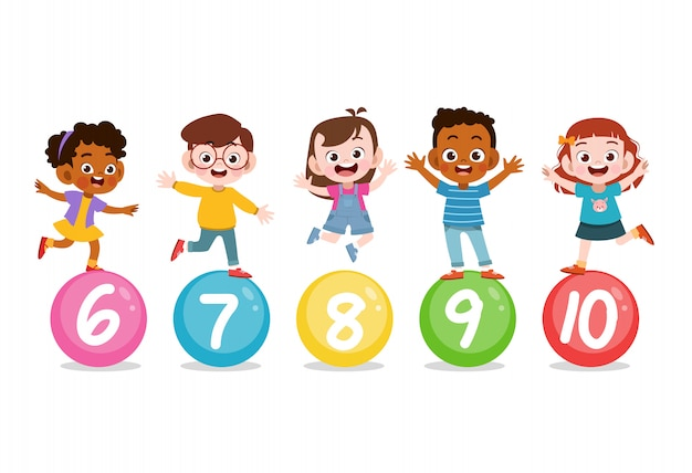 Kids with cute number 123 Premium Vector