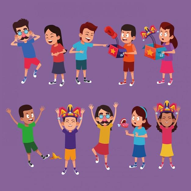 Kids with jokes cartoons Premium Vector