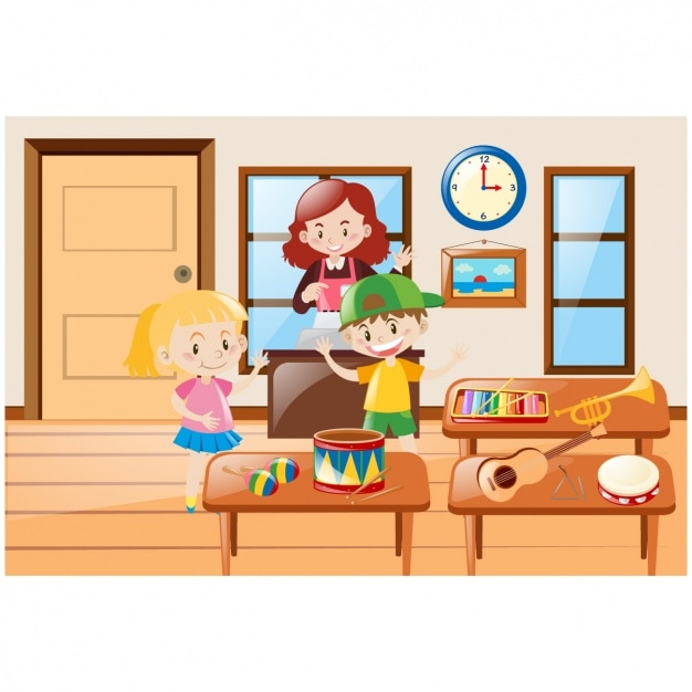 Kids with music instruments Free Vector