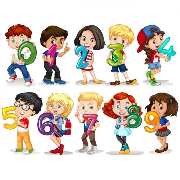 Kids with numbers design Premium Vector