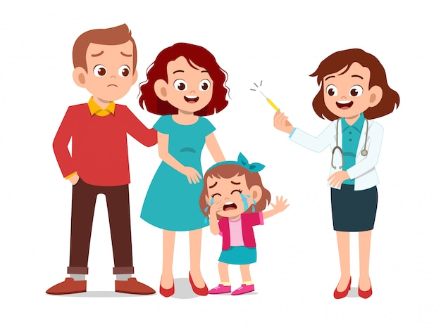 Kids with parent doctor examination Premium Vector