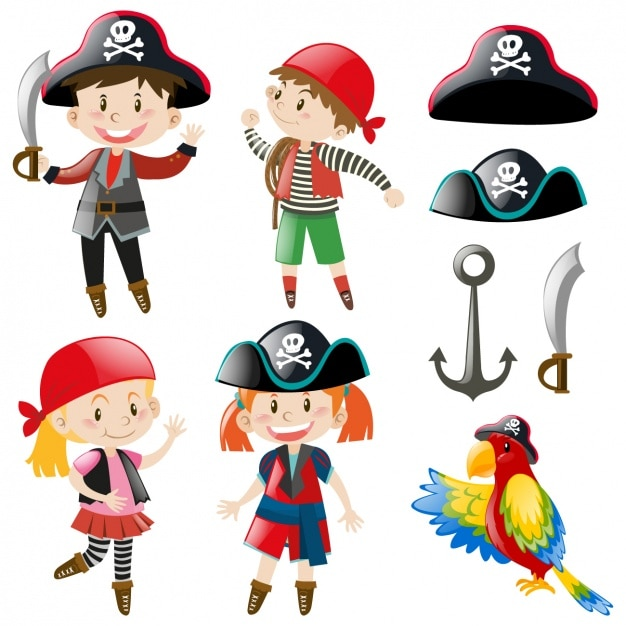 Kids with pirate costumes Free Vector