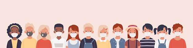 보호 마스크 평면 일러스트와 함께 아이 세트 질병, 독감, 대기 오염, 오염 된 공기, 세계 오염을 예방하기 위해 의료 마스크를 착용하는 어린이 그룹 프리미엄 벡터