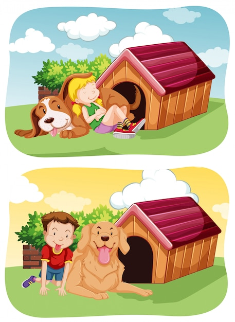 Kids with their pet dog in garden Free Vector