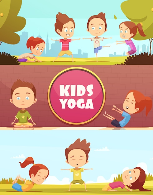 Kids yoga horizontal banners Free Vector