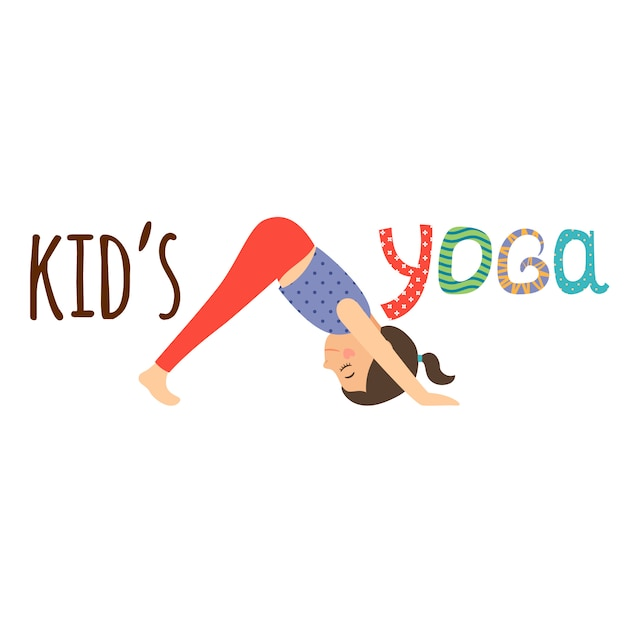 Kids yoga logo design with girl Premium Vector