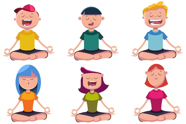 Kids In Yoga Poses Cartoon Characters Set Isolated On White Premium Vector