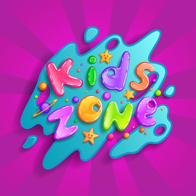 キッズゾーンの漫画のロゴ。子供のプレイルームの装飾のためのカラフルなバブルの手紙。背景の碑文 Premiumベクター