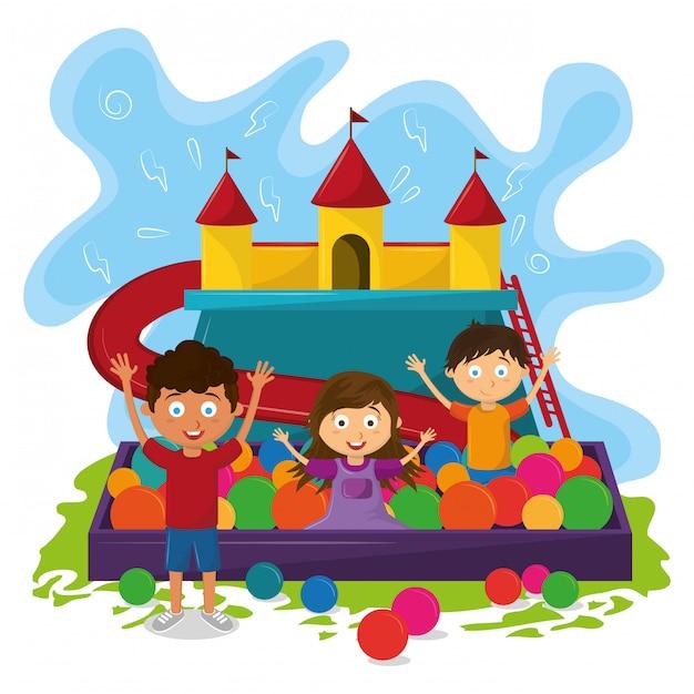 Kids zone children entertaiment cartoons Free Vector