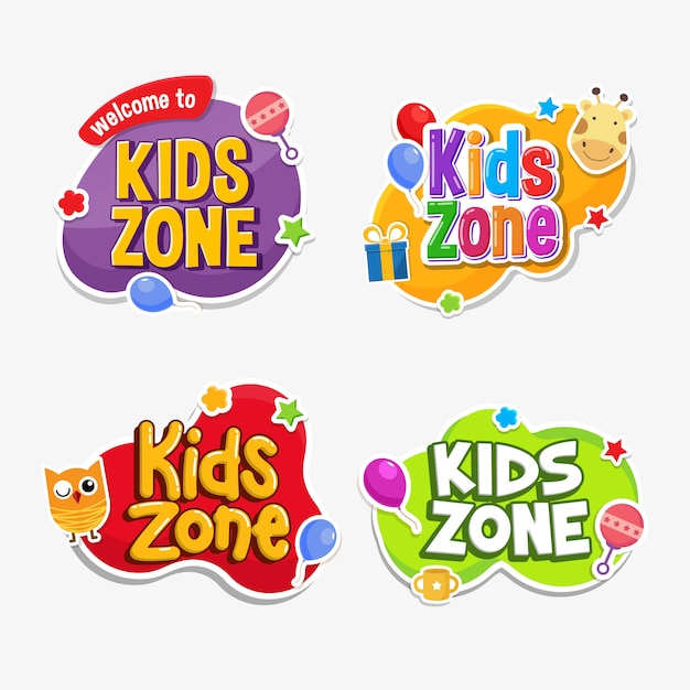 Детская зона с надписью текст наклейка по-детски Premium векторы