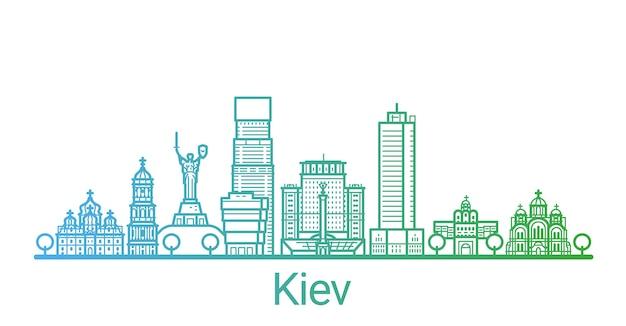 Цветная градиентная линия города киев Premium векторы