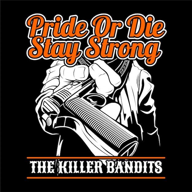 The killer bandit. give a gun. Premium Vector
