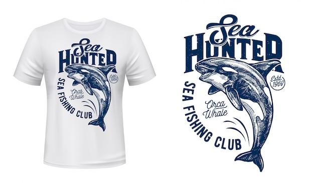 釣りクラブのシャチ柄モックアップtシャツ Premiumベクター