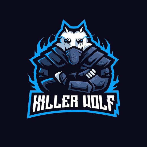 Логотип талисмана киберспорта killer wolf Premium векторы