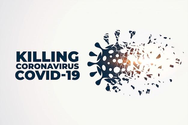 Killing or destroying coronavirus covid-19 concept background Free Vector