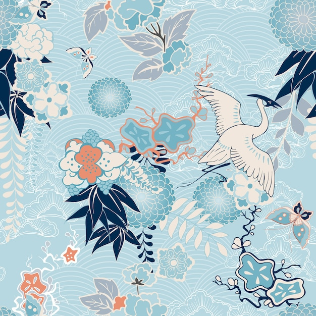 Kimono background with crane and flowers Free Vector