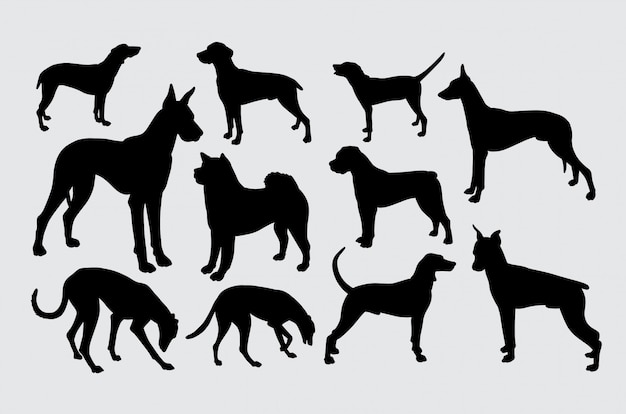 A kind of dogs pet animal silhouette Premium Vector