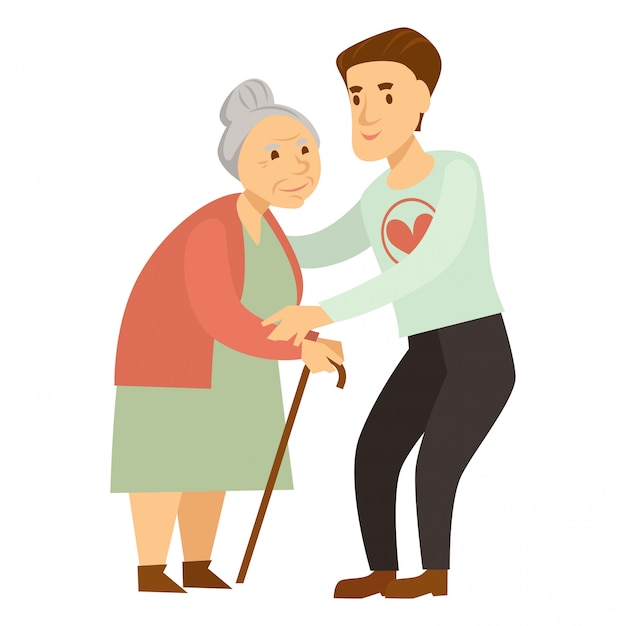 Kind male volunteer helps old lady with cane Premium Vector