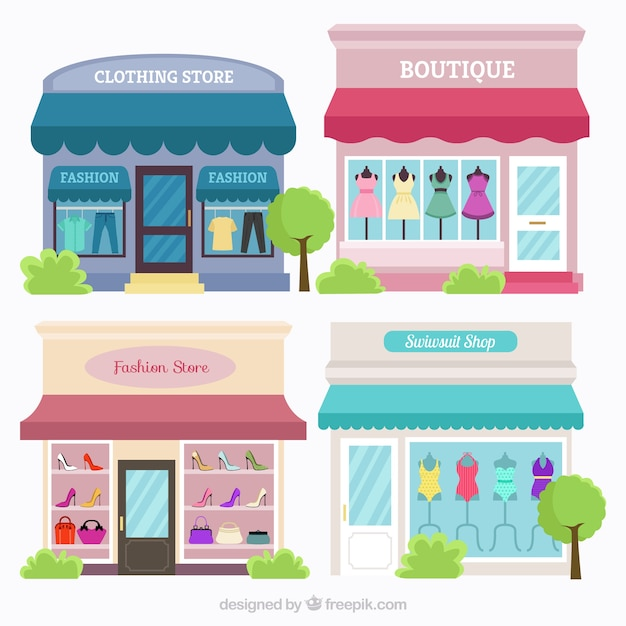 Kind of stores in vintage style Free Vector