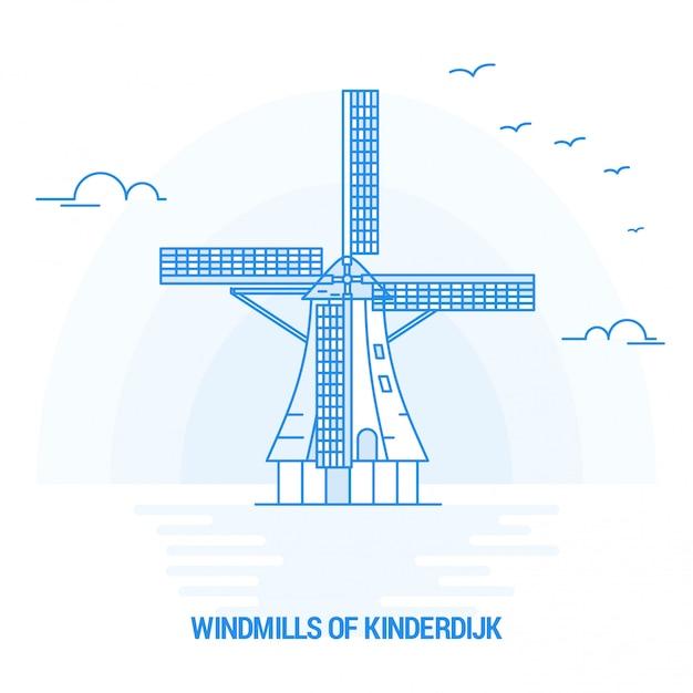 Kinderdijk windmills ofブルーランドマーク Premiumベクター