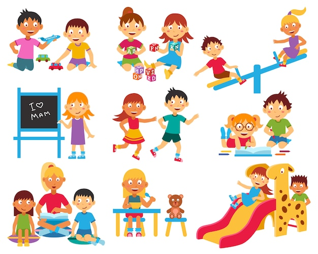 Kindergarten character set Free Vector