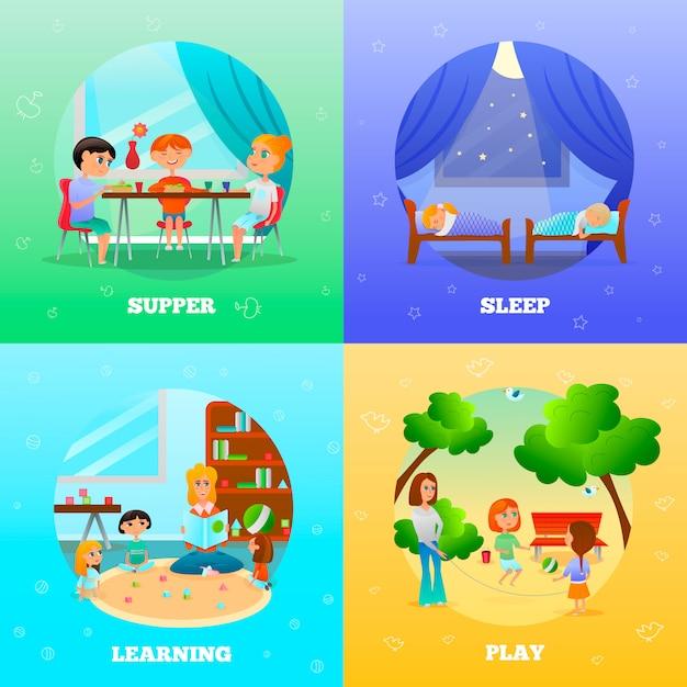 Kindergarten characters illustrations Free Vector