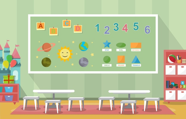 Kindergarten classroom interior children kids school toys furniture Premium Vector