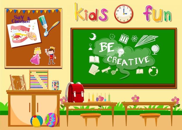 Kindergarten classroom without children Free Vector