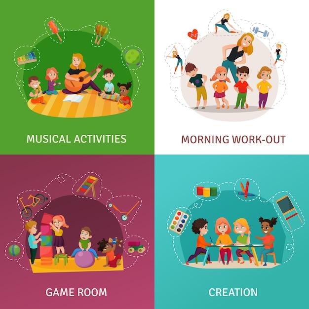 Kindergarten concept icons set Free Vector