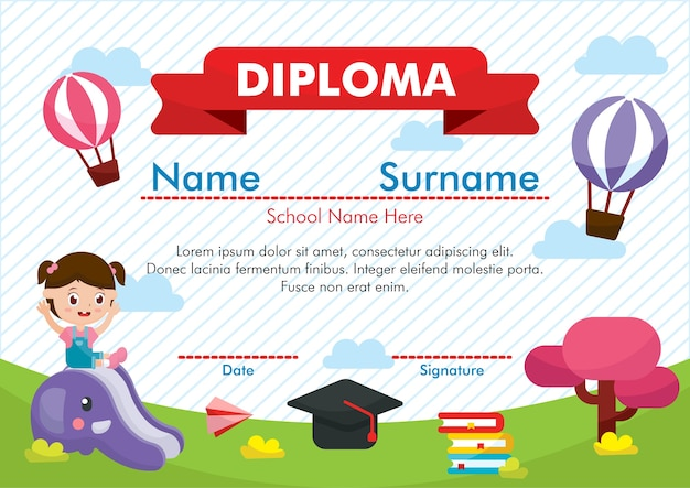 kindergarten diploma certificate vector premium download