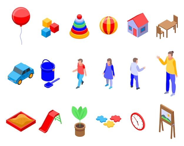Kindergarten icons set, isometric style Premium Vector