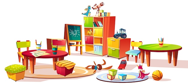Kindergarten interior furniture illustration of preschool kid room drawers for toys Free Vector