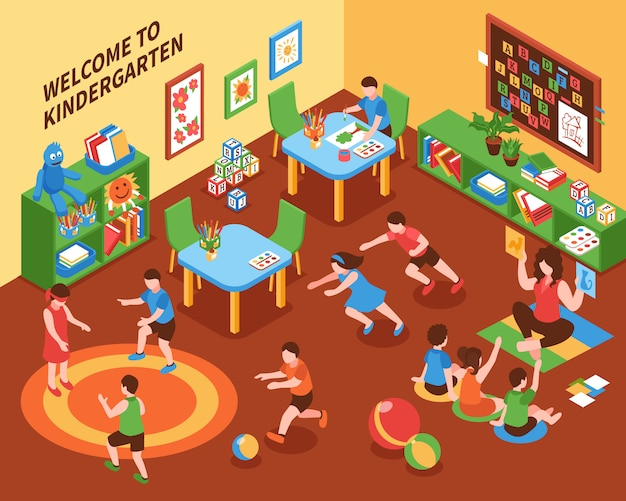 Kindergarten interior isometric composition Free Vector