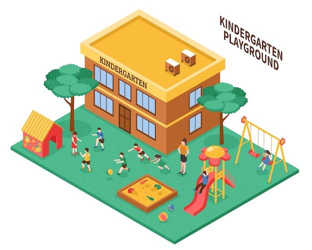 Kindergarten isometric composition Free Vector