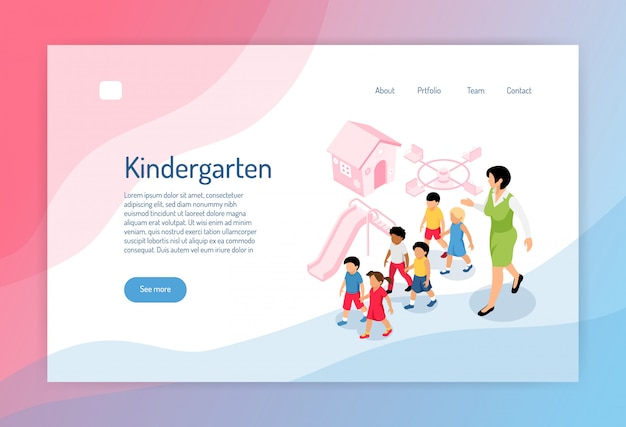 Kindergarten isometric web page with group of preschoolers educator and objects of play ground Free Vector