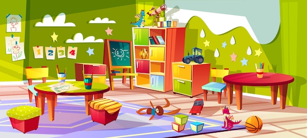 Kindergarten or kid room interior illustration. empty cartoon background with child toys Free Vector