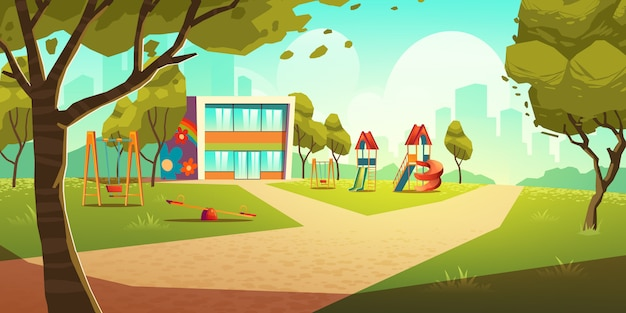 Kindergarten kids playground, empty children area illustration Free Vector